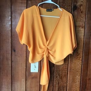 Pretty little thing yellow gold tie crop top sz 6